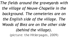 The fields around the graveyards with the village of Neuve-Chapelle in the background. The cemeteries are on the English side of the village. The Woods of Biez are on the other side (behind the village).  (picture: the Hitlerpages, 2009)