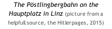 The Pöstlingbergbahn on the Hauptplatz in Linz (picture from a helpfull source, the Hitlerpages, 2015)